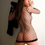 Ava Knight Wearing Fishnet Bodystocking